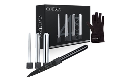 Cortex Ceramic or Titanium 4-in-1 Curling Wand Set with Heat-Resistant Glove