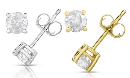 1/2 CTTW Certified Diamond Stud Earrings in 14K White or Yellow Gold by Diamond Affection