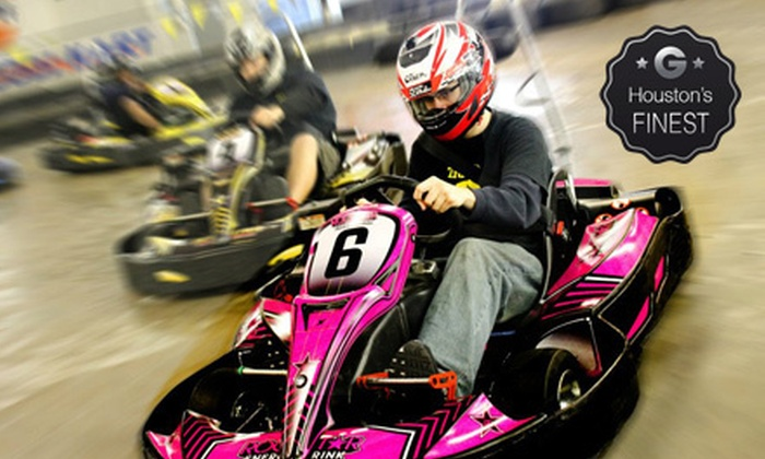 Track 21 - Houston: Indoor Go-Kart Races, Laser Tag, Mini Golf, and Sodas for Two or Four at Track 21 (Up to 54% Off)