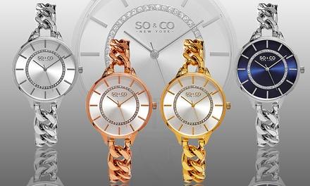 SO & CO New York Women's Ultra-Thin Chainlink Watch