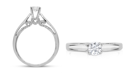 0.50 or 1 CTTW Certified Diamond Heart Ring in 10K White Gold