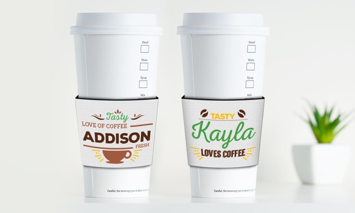 Monogram Online: One or Two Personalized Coffee-Cup Sleeves from Monogram Online (Up to 75% Off)