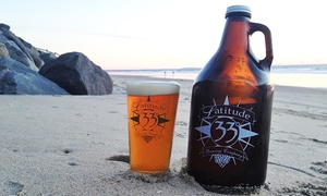 Latitude 33 Brewing Company: Two or Four Pints and a Filled Growler at Latitude 33 Brewing Co. (Up to 43% Off)