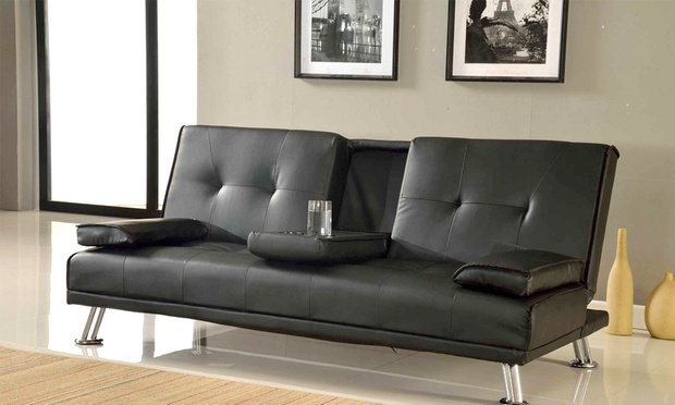 Indiana three seater sofa bed groupon goods for Sofa bed groupon