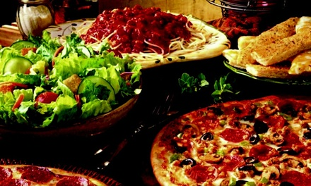 Buffet Meal for Two or Two Large Pizzas with Cinnamon Sticks and Coca-Cola at Mr. Gatti's Pizza (Up 51% Off)