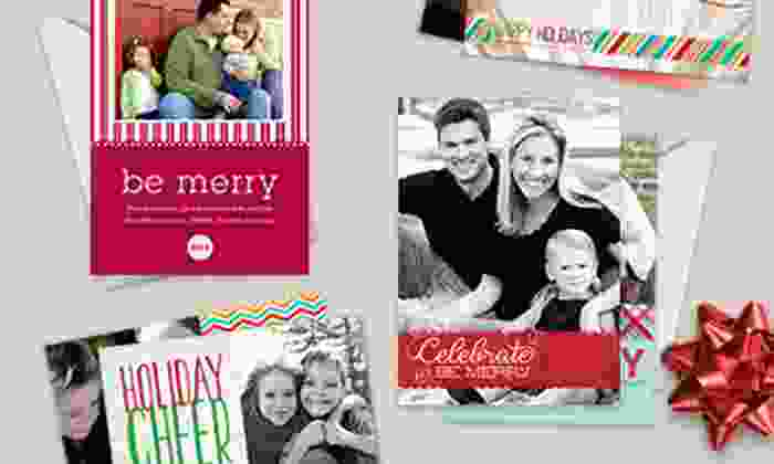 Picaboo: 40, 70, or 100 Custom Flat Holiday Cards from Picaboo (Up to 61% Off)