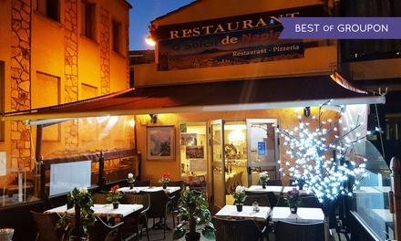 Pizza et dessert pour 2 personnes valables midi et soir à 29,90 € au restaurant O Soleil De Naples