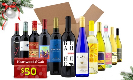 6 or 12 Bottles of Wine with Gift Card, or $25 for $75 Worth of Wine with Gift Card from Heartwood & Oak
