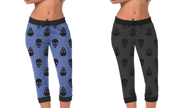 Women's Jogger Capris with Skull Print (2-Pack) (Size L)   Groupon