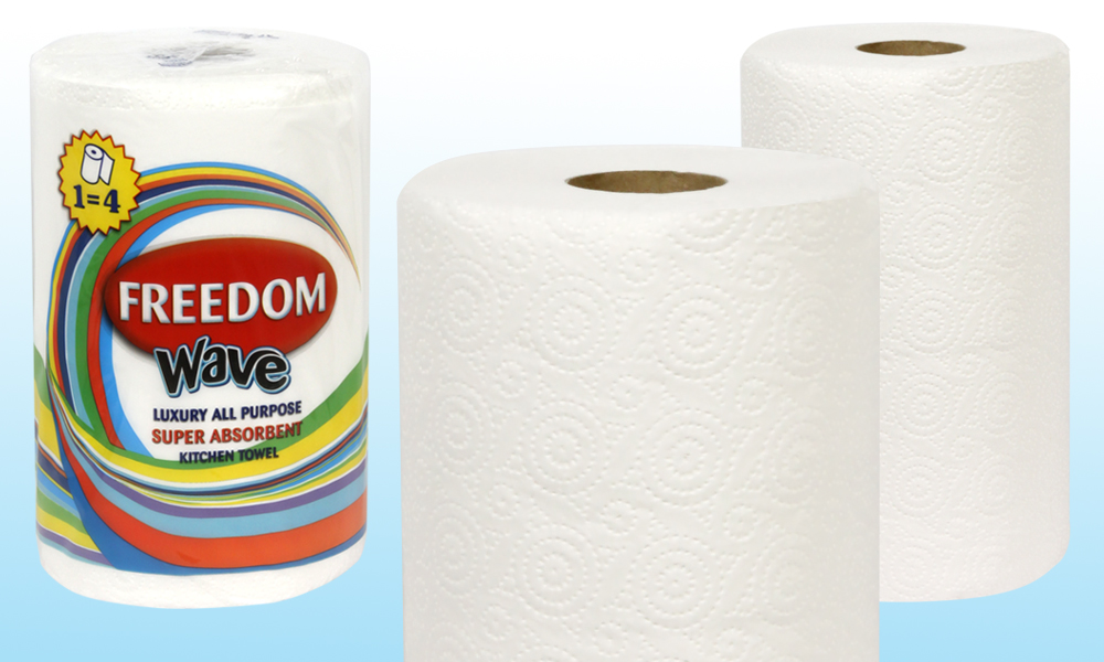 6, 12 or 24 Rolls of Freedom Two-Ply Jumbo Wave Luxury Kitchen Towels From £7.99