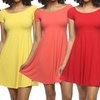 Women's Scoop Neck Fit-and-Flare Dress