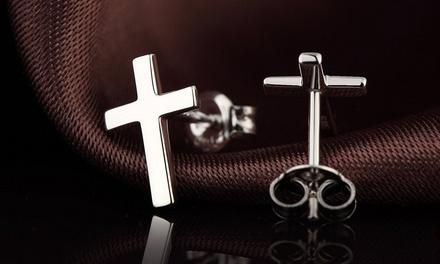 Sterling Silver Cross Stud Earrings by Verona