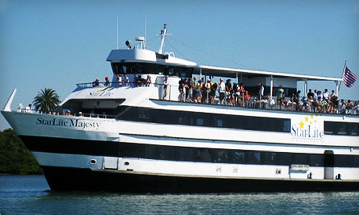 StarLite Dining Cruises - Clearwater Beach Marina: Dinner Cruise with Dancing or Sunday Lunch Cruise from StarLite Dining Cruises (Up to 51% Off). Three Options Available.