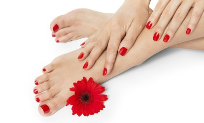 image for Shellac Manicure, Pedicure or Both at Hands Tanned (Up to 68% Off)