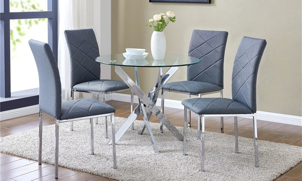 Glass Dining Table And Chairs Groupon, Round Glass Dining Table With Four Chairs