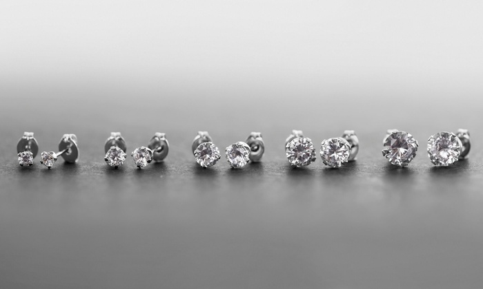 9 00 Ctw Studs With Swarovski Elements 5 Pack Groupon