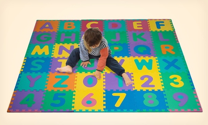 96 piece foam alphabet and number puzzle floor mat for kids 96