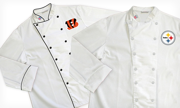 NFL AFC North Classic or Premium Chef Coats: NFL AFC North Classic or Premium Chef Coats (Up to 64% Off). Multiple Teams Available. Free Shipping and Returns.