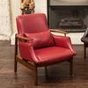 Braselton Wood-Frame Leather Armchair