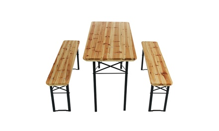 Wooden picnic table and bench set groupon goods for 12 in 1 game table groupon