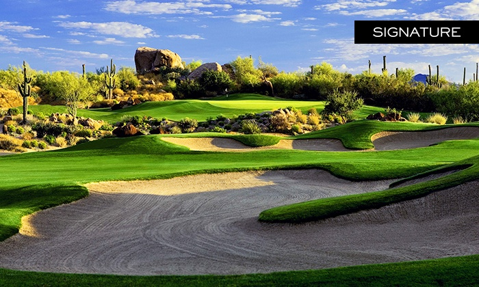 Troon North Golf Club - Scottsdale: Round of Golf with Cart Rental and Unlimited Range Balls for 2 or 4 at Troon North Golf Club (Up to 48% Off)