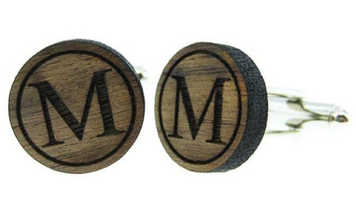 JC Jewelry Design: $8.99 for a Personalized Initial Wood Cufflinks from JC Jewelry Design ($18.95 Value)