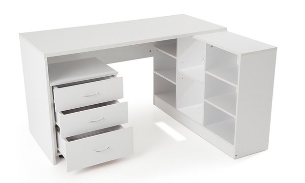 Bureau caisson tag re tiroirs groupon shopping for Bureau angle avec etagere