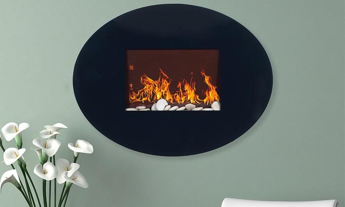 Glass Electric Fireplace Groupon Goods