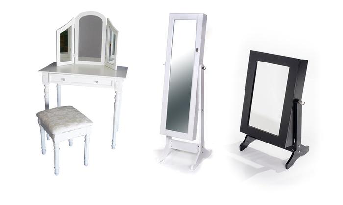 armadio portagioie o toilette | groupon shopping - Toilette Provenzale Con Specchio E Sgabello