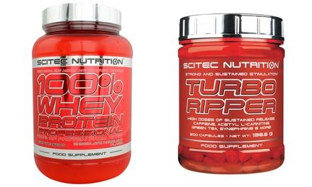 Pack 100% Whey Protein et 200 capsules Turbo Ripper (Scitec) plusieurs goût disponible