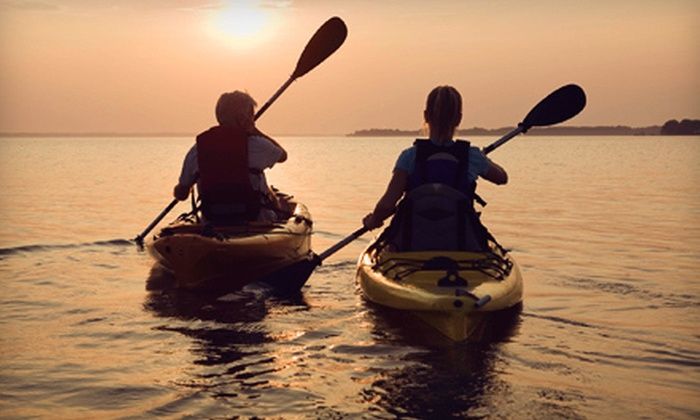 Paddle Pusher - Multiple Locations: 4- or 24-Hour Rental of a Single or Tandem Kayak with Paddles from Paddle Pusher (Up to 55% Off)