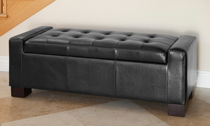Tufted Leather Storage Ottoman Groupon Goods