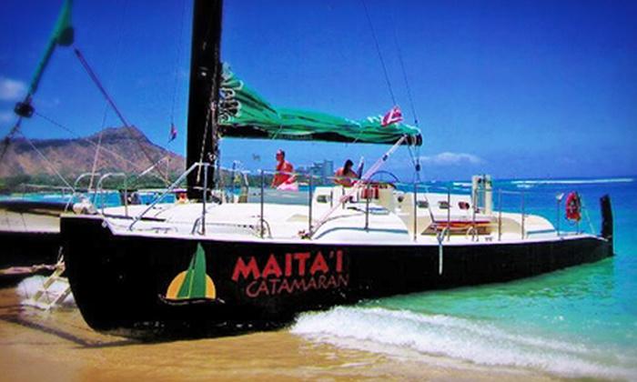 Maita`i Catamaran - Beach at Sheraton Waikiki Hotel: 90-Minute TradeWind Sail Trip for Two, Four, or Six from Maita'i Catamaran (Up to 51% Off)