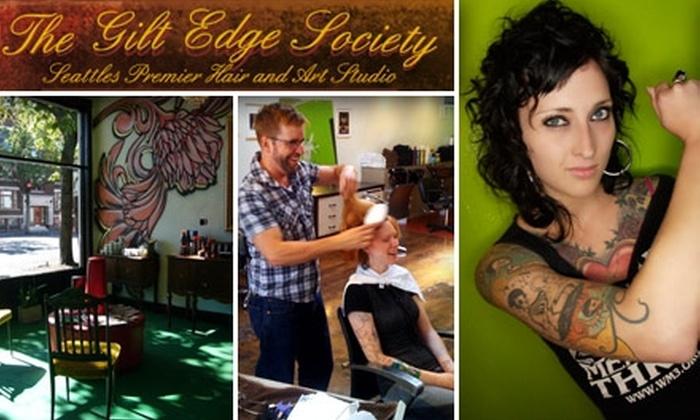 The Gilt Edge Society  - Belltown: $25 for a Haircut, Styling, and Blow Dry at The Gilt Edge Society (Up to $75 Value)