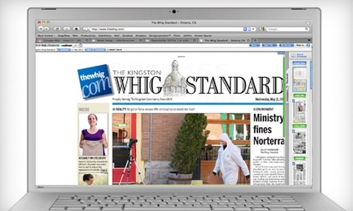 """The Kingston Whig-Standard - Kingston / Belleville: $20 for a One-Year Subscription to Electronic Edition of """"The Kingston Whig-Standard"""" ($54.10 Value)"""