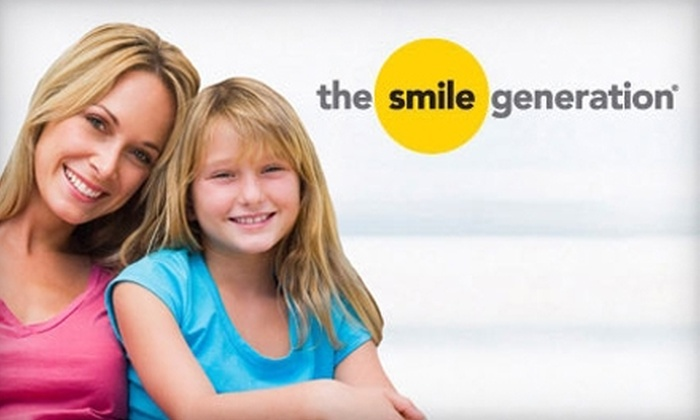 Smile Generation - Multiple Locations: $29 for Cleaning, Exam, X-rays, and Professional Take-Home Teeth-Whitening Kit at The Smile Generation (Up to $653 Value). Six locations.