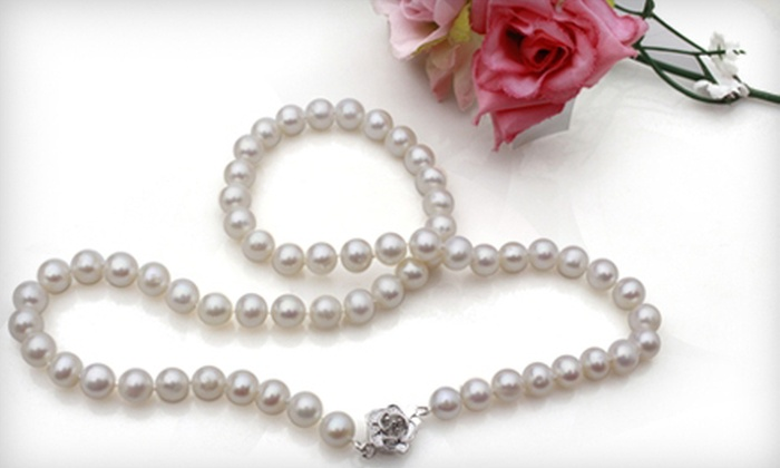 Prized Pearls: Single- or Triple-Strand Freshwater-Pearl Necklace from Prized Pearls (Up to 72% Off)