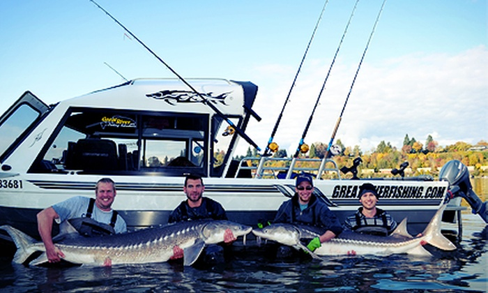 Great River Fishing Adventures - Chilliwack Proper Village West: Sturgeon- or Salmon-Fishing Trip for Two or Private Trip for Four from Great River Fishing Adventures (Up to 61% Off)