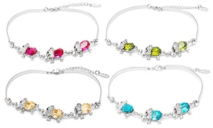 Elephant Birthstone Bracelet With Swarovski Elements