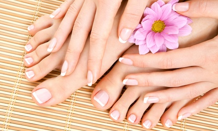Manicure or Hot Stone Pedicure at Hairport Hair Studio and Spa (Up to 45% Off)