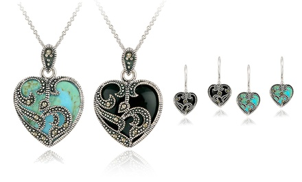 Onyx or Created Turquoise Heart Earrings or Necklace with Marcasite Stones. Free Returns.