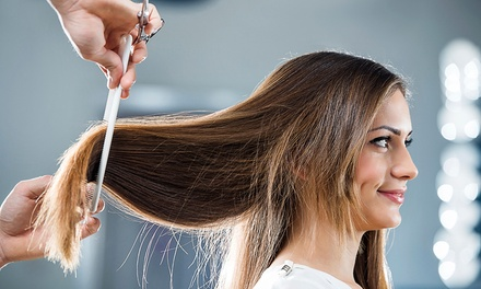 Haircut with Blow-Dry, Single-Process Color, Keratin, or Ombré Treatment at Healing Touch Salon (Up to 67% Off)