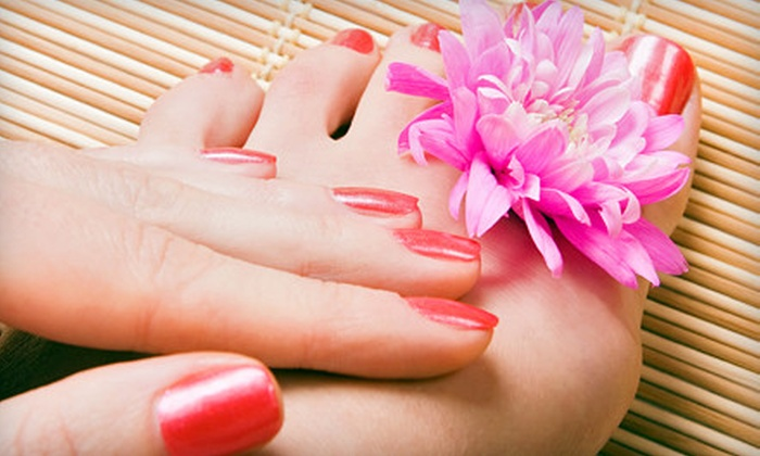 One On One Salon & Day Spa - Read Boulevard East: $29 for a Peppermint Stick Mani-Pedi at One On One Salon & Day Spa ($90 Value)