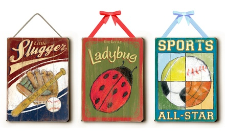 Children's Wall-Art Signs with Ribbon. Multiple Styles Available. Free Returns.