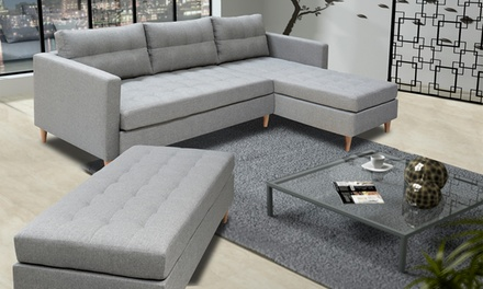 Ecksofa luxus  Luxus Ecksofa Kopenhagen optimal mit Hocker in Grau bis zu sparen ...