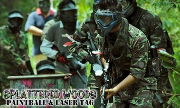 Splattered Woods - Montgomery: $15 for Four Hours of Paintball (Including Paintball Gun Rental, CO2, and Paintballs) or Two Hours of Laser Tag (Including Laser Gun Rental) at Splattered Woods