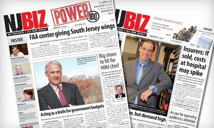 "NJBIZ: $15 for Six-Month Subscription to ""NJBIZ"" Weekly Journal ($32.50 Value)"