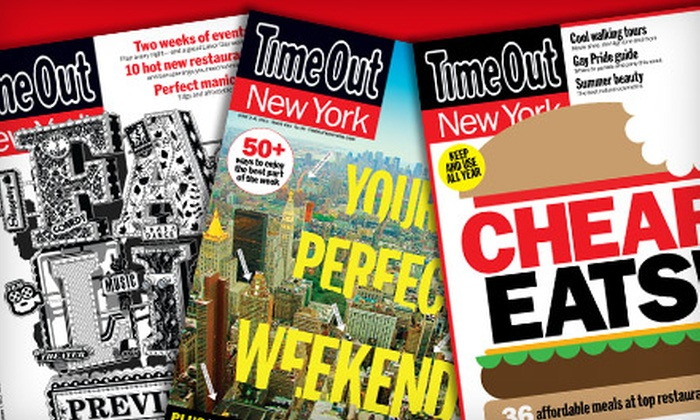 """Time Out New York"" Magazine: $12 for a One-Year, 55-Issue Subscription to ""Time Out New York"" Magazine ($19.99 Value)"