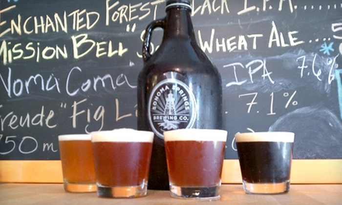Sonoma Springs Brewing Company - Sonoma: $15 for Four-Beer Tasting Flight and 64 Oz. Growler at Sonoma Springs Brewing Company in Sonoma ($30 Value)