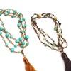 """36"""" Genuine Gemstone and Swarovski Elements Tassel Necklace"""